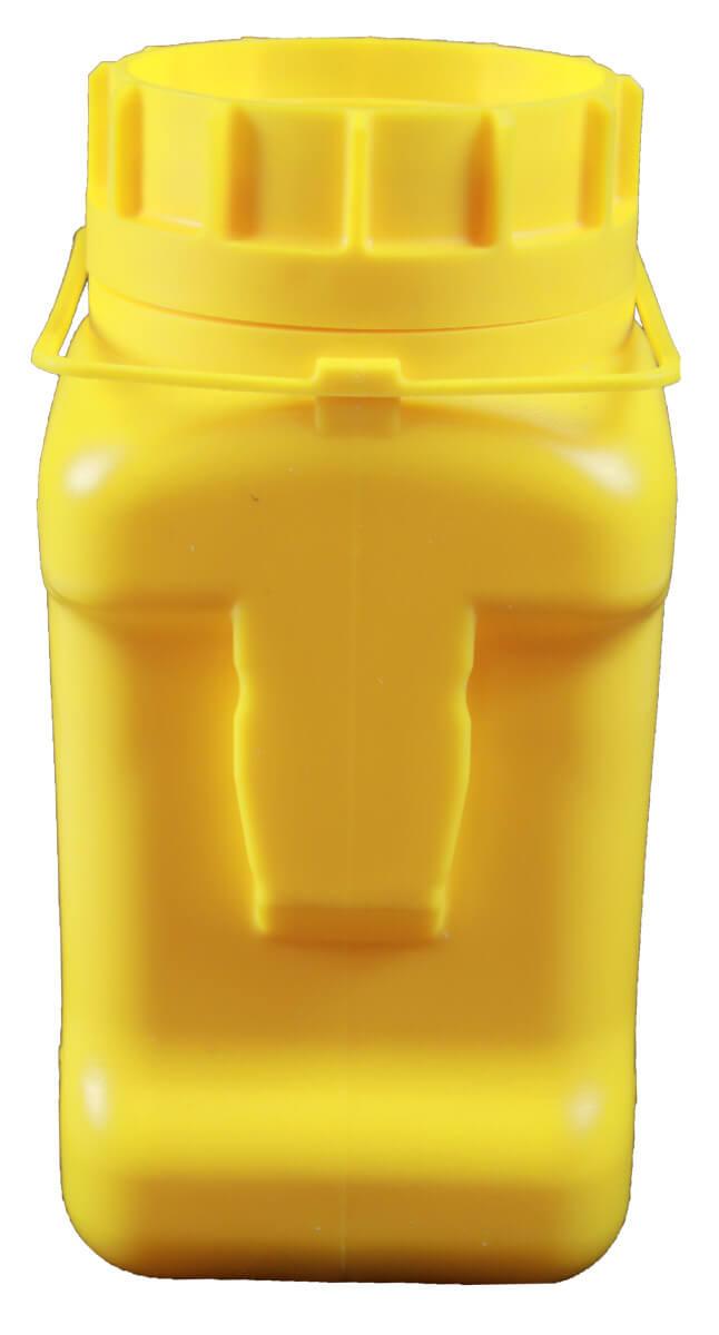 Sammelbox für stumpfe alte Cuttermesser Klingen Klingenbox groß gelb CURT-tools Rückseite mit Vorrichtung für Wandaufhängung