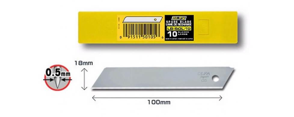 K043O-Cuttermesser-Klinge-18mm-OLFA-ohne-Abbrechsegmente-Styropor-LB-SOL-Verpackung-CURT-tools_