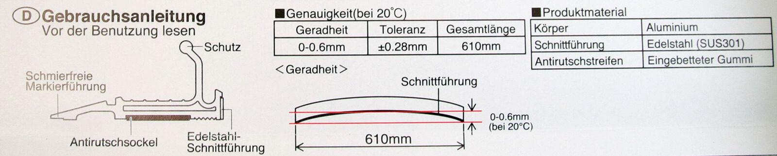 Z001 Schneidelineal Sicherheitslineal Anlegelineal mit Stahllkante 60cm Anleitung CURT-tools