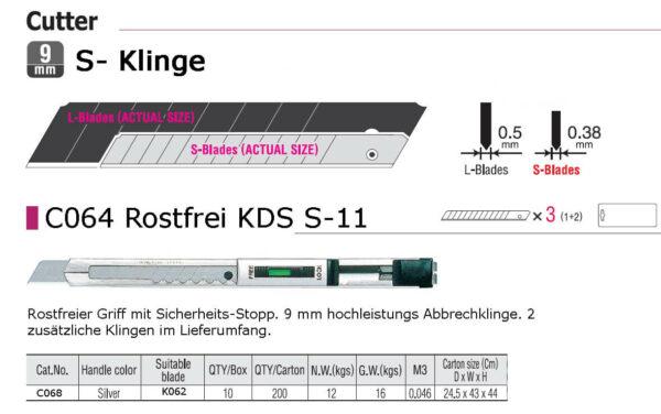 C068 Cuttermesser Profi 9 mm KDS S-11 technische Daten CURT-tools