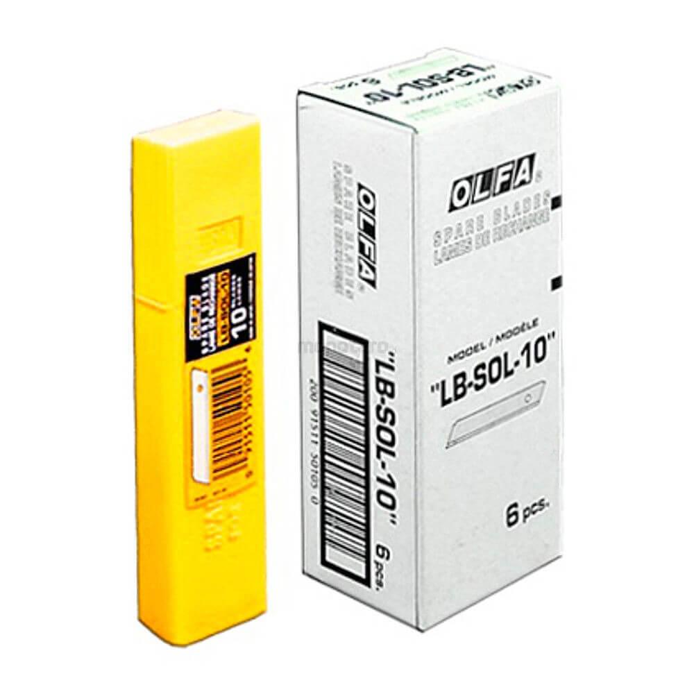 K043O-Cuttermesser-Klinge-18mm-OLFA-ohne-Abbrechsegmente-Styropor-LB-SOL-Verpackung-ÜK-CURT-tools_