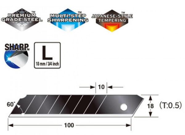 K041-Cuttermesser-Klinge-18mm-Tajima-LCB-50RE-black-Infor_CURT-tools_