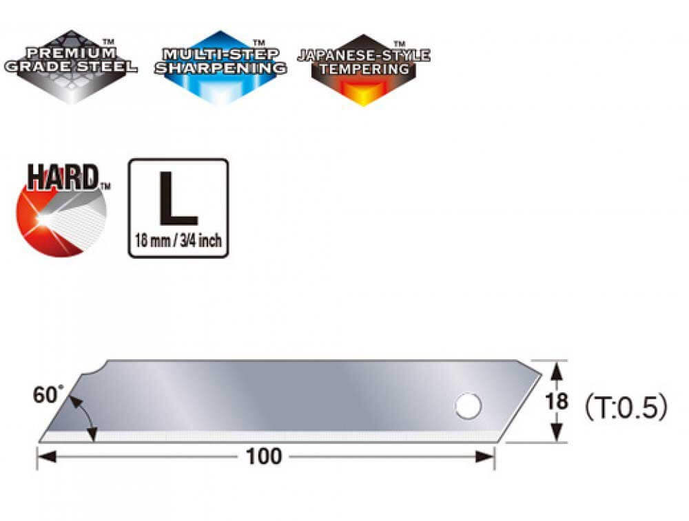 K043-Cuttermesser-Klinge-Abbrechklinge-18mm-ohne-Segmente-Sicherheitsklinge-Maße-CURT-tools